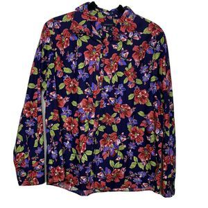 Lands' End Floral Button No Iron Long Sleeve Shirt